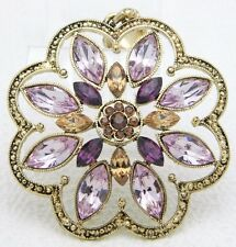 Large Purple Rhinestone Flower /& Ribbon Necklace ~ FREE SHIP to USA ~ #N272