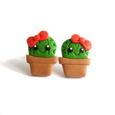 Green Cactus Funny Smile Kawaii Bow Girls Gifts Funky Plant Emo Earrings Jewelry