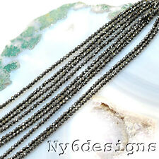 """Tiny! 2x2mm Natural Black Spinel Faceted Round Shinny Spacer Loose Beads 13.5"""""""