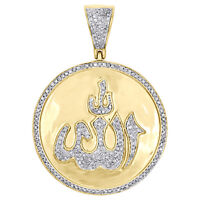 "10K Yellow Gold Diamond Allah Medallion Islamic Pendant 1.7"" Pave  Charm 3/4 CT."