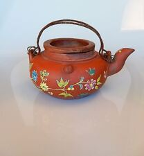 Chinese Yixing Clay Pottery Teapot with Painted Bird Flower Design Antique