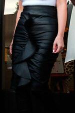Black PVC Frill Pencil Midi Skirt size 10 - 12