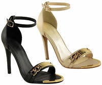 Ladies Womens Stiletto High Heel Cut Out Peep Toe Ankle Strap Sandals Shoes Size