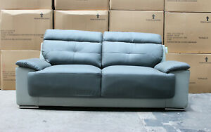 Bari 3 Seater Two-Tonned Grey Leather Sofa NEW WITH DAMAGE / CLEARANCE C222
