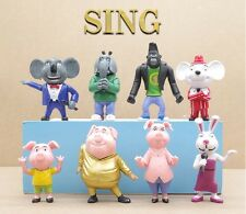 8 pcs Sing Movie Cartoon Buster Moon Johnny Doll Action Figure Toy Cake Topper