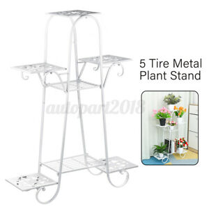 5 Tire Metal Plant Stand Display Shelf Home Office Garden Patio In/Outdoor White