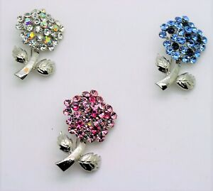 3pc Urbanity flower bouquet style mix color Crystal fashion Brooch Pin lot #1