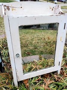 Antique Wood Apothecary Medicine Cabinet Farmhouse Primitive Org Hardware/Mirror