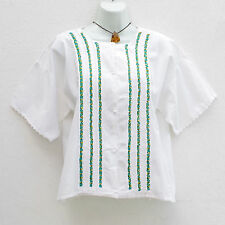 Mexican Peasant Blouse Huipil with Flowers Embroidery M, L