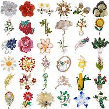 Fashion Rhinestone Flower Enamel Pearl Brooch Pin Womens Wedding Bouquet Jewelry