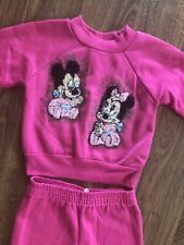 Vtg Baby Mickey Minnie Mouse Toddler 2T Sweatshirt Pants Outfit Pink Homemade