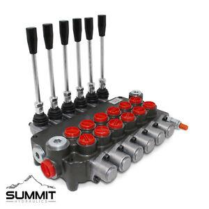 6 Spool Hydraulic Monoblock Double Acting Control Valve, 21 GPM, SAE Ports