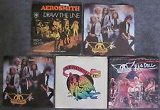 "5 AEROSMITH 7"" Vinyl 45's HOLLAND, France, US: Draw The Line RAG DOLL Dude ANGEL"