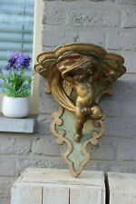 Antique italian gilt carved Wood & plaster  putti angel figurine wall console