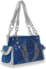 Bling Accented Winged BLUE Conceal and Carry Handbag