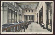 Postcard MONTREAL Quebec/CANADA  Bank Lobby Interior view 1910's