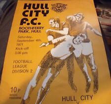Hull City FC v Blackpool (Football League Division 2) Sept 4 1971 programme