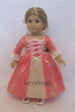 """Colonial Elizabeth Meet Felicity Dress Gown for 18"""" American Girl Doll Clothes"""