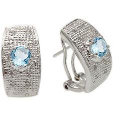 GENUINE DIAMOND & BLUE TOPAZ PLATINUM OVER 0.925 STERLING SILVER EARRINGS