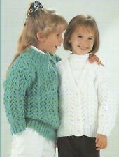 "Girls Chunky Sweater and Cardigan Knitting Pattern 24-32"" 202"