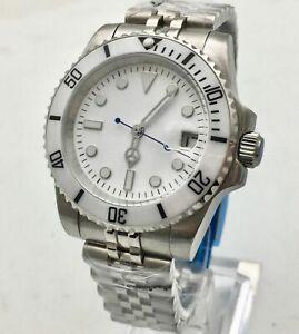 40mm White dia luminous mark date Rotating bezel automatic mens watch mechanical