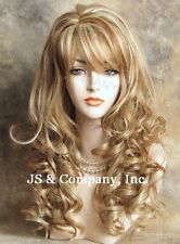 Human Hair Blend Long Wavy Strawberry Blonde mix  Wig HEAT SAFE sbl 27/613
