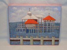 MOBILE BAY OCEAN PIER 2012 PAINTING Nautical Beach House Decor Wall Hanging Art