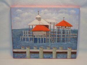 MOBILE BAY OCEAN PIER PAINTING NAUTICAL BEACH HOUSE MARITIME DECOR WALL ART