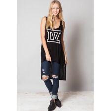 LF Store Emma & Sam Black Graphic Side Zipped Dress/Shirt NWT Medium