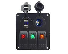 3 gang switch panel voltage power socket Auto/4x4 12V~24V