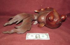 Large Old or Antique Chinese Hardwood Carving Sculpture of Koi