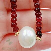 13x13mm White Baroque Pearl Pendant Ruby Necklace 18 inches Cultured Women Diy