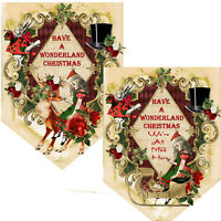 Christmas Bunting, Alice In Wonderland, Mad Hatter, Vintage Style Xmas Decor