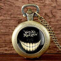 Antique Necklace Alice In Wonderland Quartz Pocket Watch Vintage Pendant Chain
