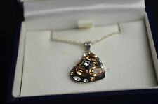 "BNIB sterling silver black heart pendant white cubic zirconia 16"" chain *reduced"