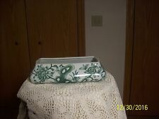 Andrea By Sadek Vintage Porcelain Pottery Green Floral & Leaf Long Planter