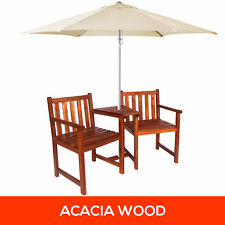 NEW Timber Outdoor Twin Chair & Table Set Acacia Wooden Garden Furniture