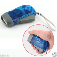 3 LED DYNAMO WIND UP HAND CHARGING CRANK BLUE FLASHLIGHT NR TORCHLIGHT CAMPING
