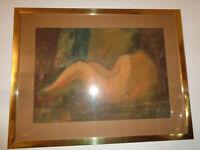 """Karel Soucek , """"Weiblicher Rückenakt"""" , Mischtechnik, signiert K.Soucek"""