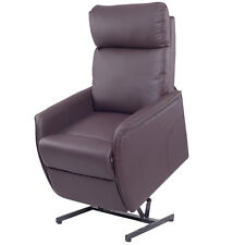Electric Power Lift Chair Recliner Sofa PU Leather Padded Seat Living Room Brown