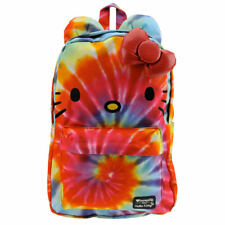 Hello Kitty Rainbow Tie Dye Backpack Bag Loungefly Sanrio 3D Bow Face NEW