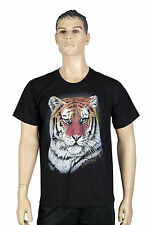 Mens Black Short Sleeve Round Neck Smart Casual Cotton Tee Animal Tiger Print