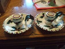 Pair of Two Lefton's Hand Decorated Christmas Holly Candle Holder Made in Japan