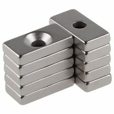 10pcs Super Strong Block Magnets 20x12x4mm Hole 4mm Rare Earth Neodymium N50