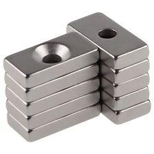 10pcs Super Strong Block Magnets 20x10x4mm Hole 4mm Rare Earth Neodymium N50