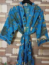 Women Cotton Kimono Jungle Print Night Dress Beach Cover Up Gown Maxi Bath Robe
