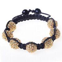 White Crystals Yellow Gold Tone Macrame Beaded Ball Bracelet