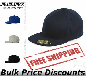 Flexfit Mens 210 Flat Bill Cap Hat Baseball 6210FF six-panel high-profile