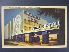Hollywood California Earl Carroll Theatre Vintage Color Linen Postcard 1930s-40s