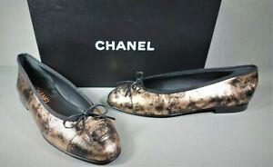 CHANEL 36 Bronze Black Laminated Goatskin ballet ballerina flats Cap Toe CC NEW